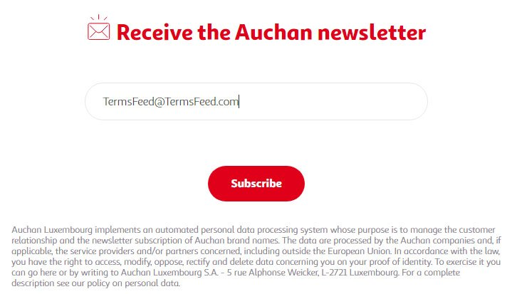 Auchan newsletter subscribe form with information about how to access data and unsubscribe