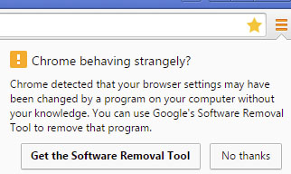 Chrome popup to get the software removal tool