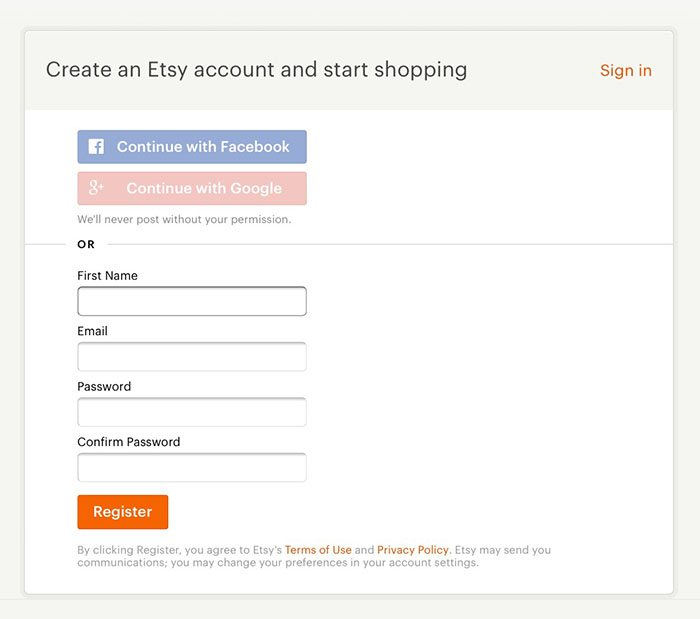 Etsy's Create an Account form with no opt-in consent for marketing communications - Not GDPR-compliant