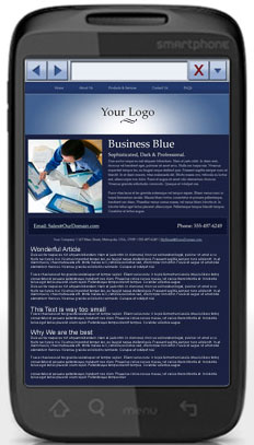 Gatekeeper Business Services: Non-optimized mobile website on smartphone