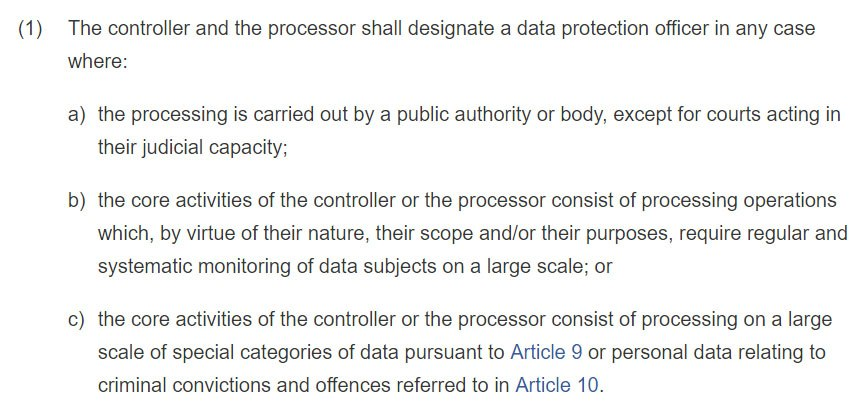 GDPR Article 37: Designation of the data protection officer - section 1