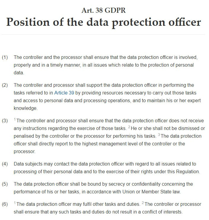 GDPR Article 38: Position of the data protection officer