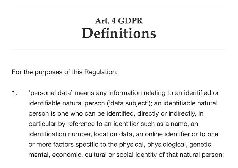GDPR Article 4 Section 1: Definitions - Personal Data