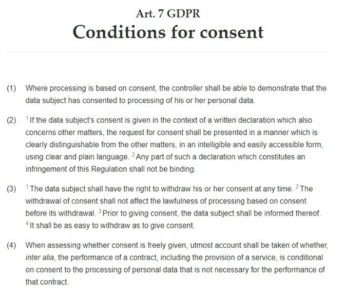 GDPR Article 7: Conditions for Consent