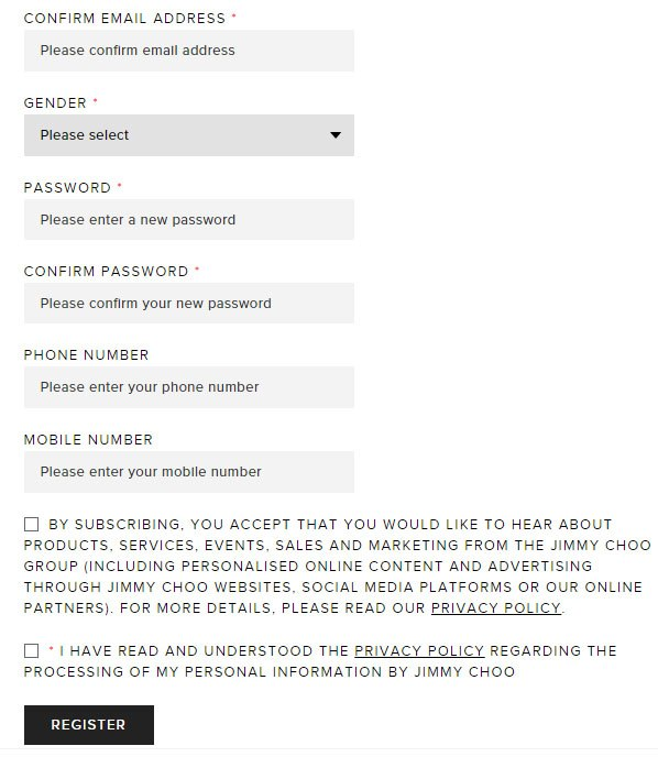 Jimmy Choo account registration form with checkboxes for opting in to marketing communications and agreeing to Privacy Policy
