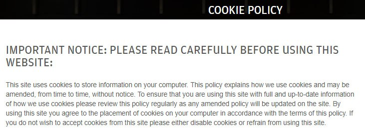 J.P. Morgan Cookie Policy: Important Notice Intro clause using browsewrap