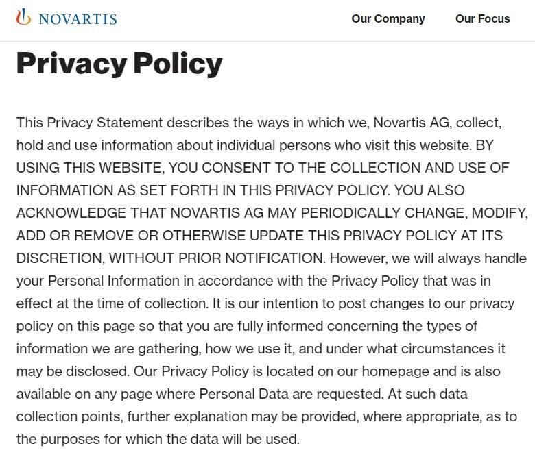 Novartis Privacy Policy: Intro clause