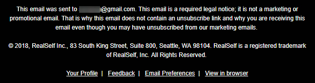 RealSelf legal notice email with no unsubscribe link