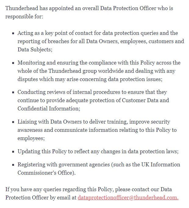 Thunderhead Data Protection and Security Policy: Data Protection Officer clause