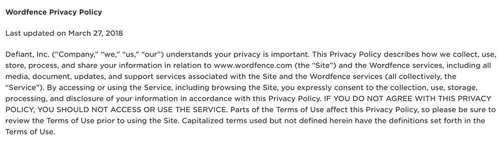 Wordfence Privacy Policy: Intro clause using browsewrap