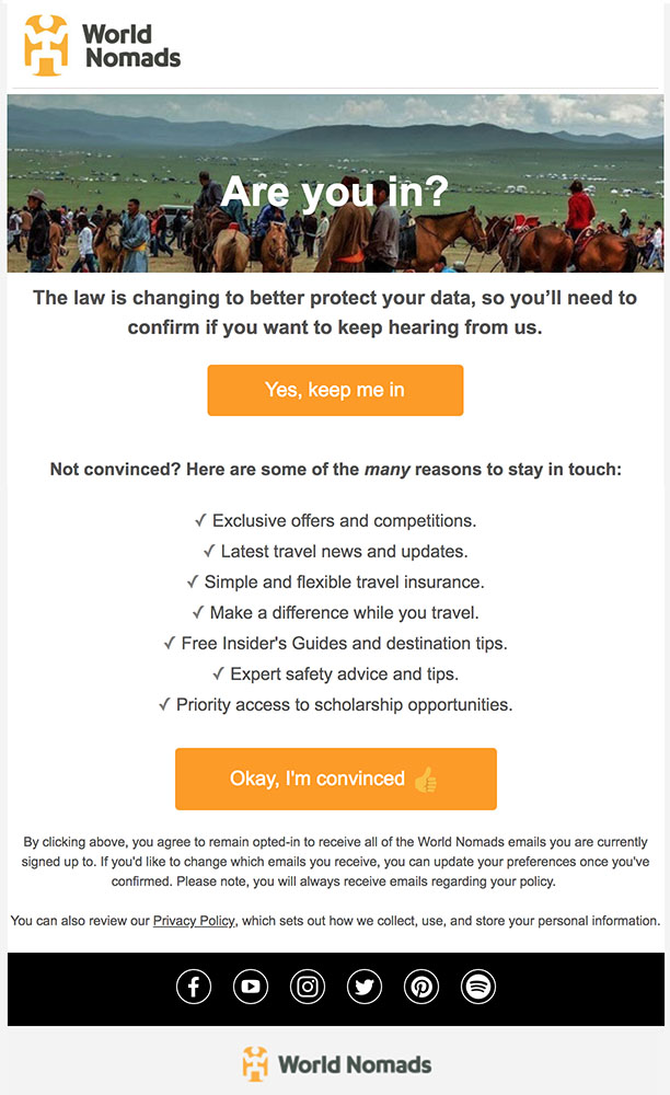 World Nomads email for GDPR re-permission and re-consent telling reasons to keep signed up