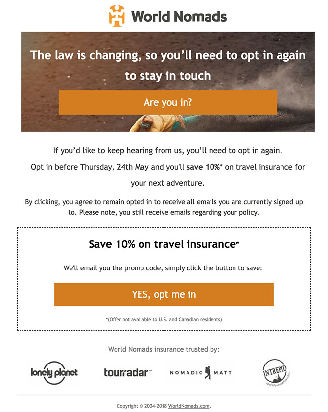 World Nomads email re-consent and re-permission campaign with promo code for opting in