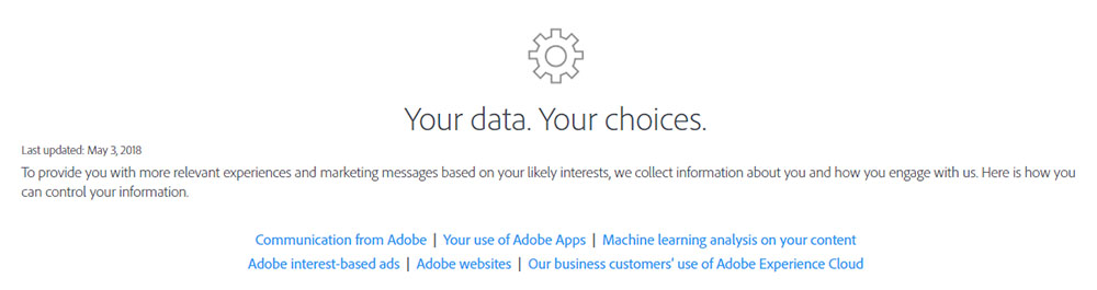 Adobe Opt-Out Page: Your data. Your Choices. Intro clause with links