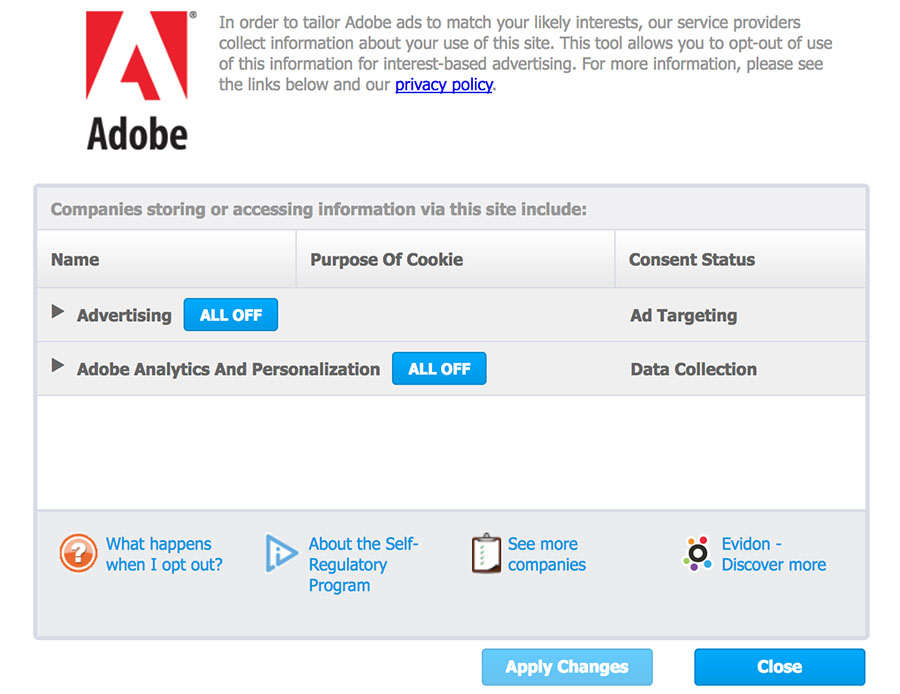 Adobe Opt-Out Page: Set Preferences: Interest-based ads and cookies tool