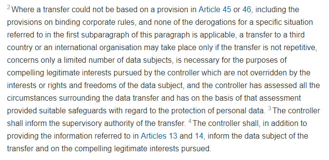 Article 49 Section 1 paragraph 2: Derogations for specific situations