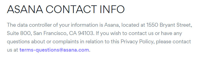 Asana Privacy Policy: Contact Info clause