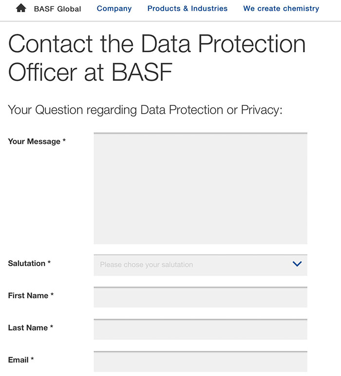 BASF Contact Data Protection Officer form