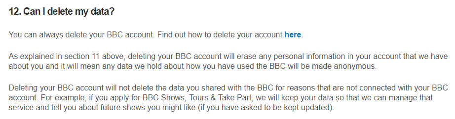 BBC Privacy Policy: Can I delete my data clause