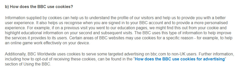 BBC Privacy Policy: How does the BBC use cookies clause mentioning targeted advertising