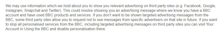 BBC Privacy Policy: Will I be contacted for marketing purposes clause - Third party advertising section
