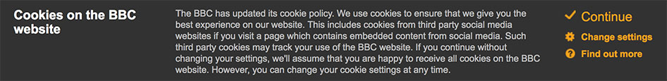 BBC's updated cookie policy notification