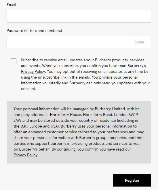 Burberry's account register form with checkbox consent for email subscribe
