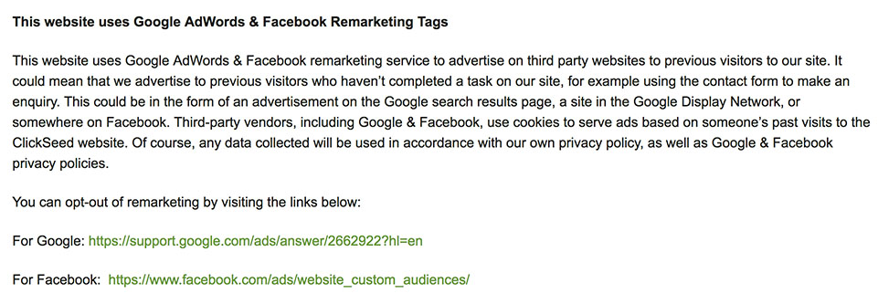 Clickseed Privacy Policy: This website uses Google AdWords and Facebook Remarketing Tags clause