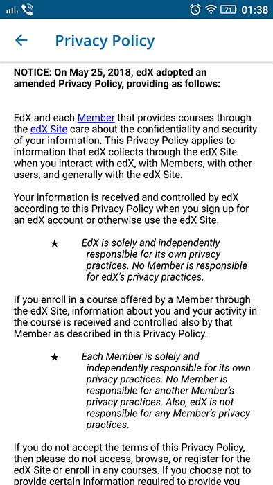 edX mobile Privacy Policy intro for GDPR update