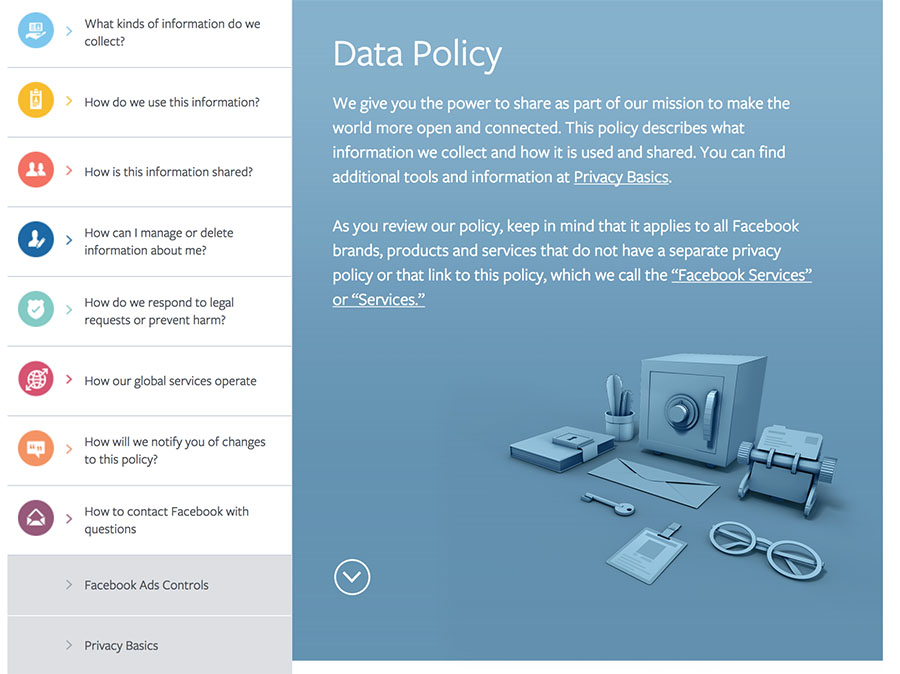 Facebook Data Policy homepage with menu and summary