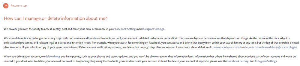 Facebook Data Policy: How can I manage or delete information about me clause