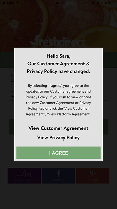 FreshDirect mobile: Customer Agreement and Privacy Policy updates notification with I Agree for consent