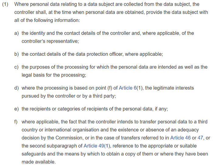 GDPR Article 13 Section 1: Information to be provided where personal data are collected from the data subject