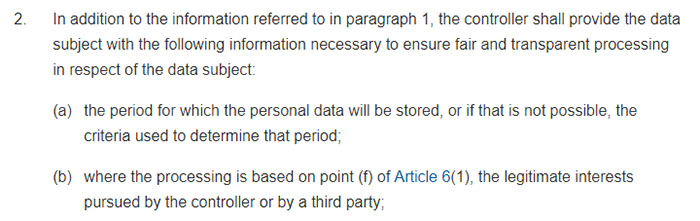GDPR Article 14 Sections 2a and 2b: Information to be provided where personal data have not been obtained from the data subject
