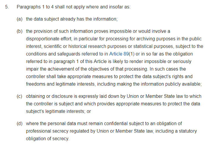 GDPR Article 14 Section 5: Information to be provided where personal data have not been obtained from the data subject