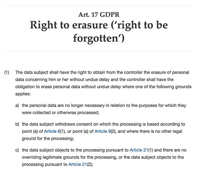 GDPR Article 17 Section 1 excerpt: Right to erasure - Right to be forgotten