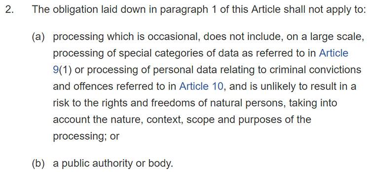 GDPR Article 27: Section 2: When member state representatives are not required