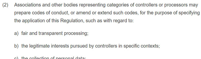 GDPR Article 40 Section 2 excerpt: Codes of conduct