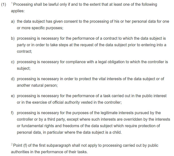 gdpr article 6 section 1 lawfulness of processing