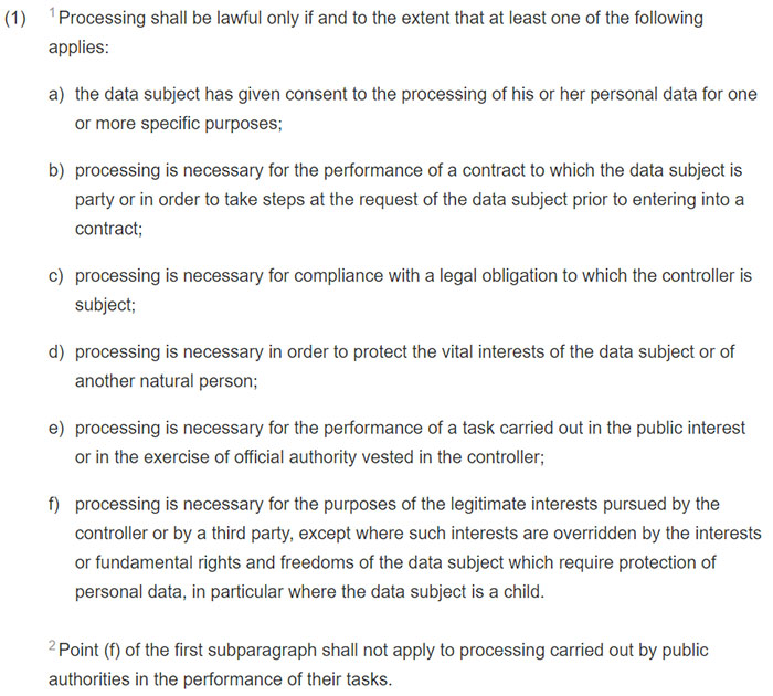 GDPR Article 6: Section 1