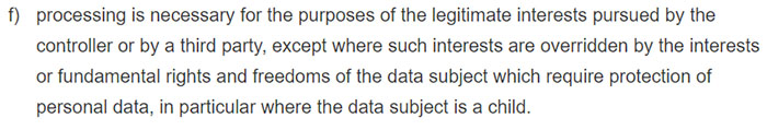 GDPR Article 6 Section f: Lawfulness of processing