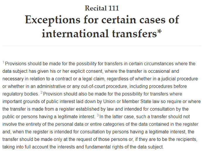 GDPR Recital 111: Exceptions for certain cases of international transfers