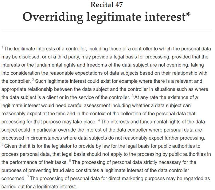 GDPR Recital 47: Overriding legitimate interest