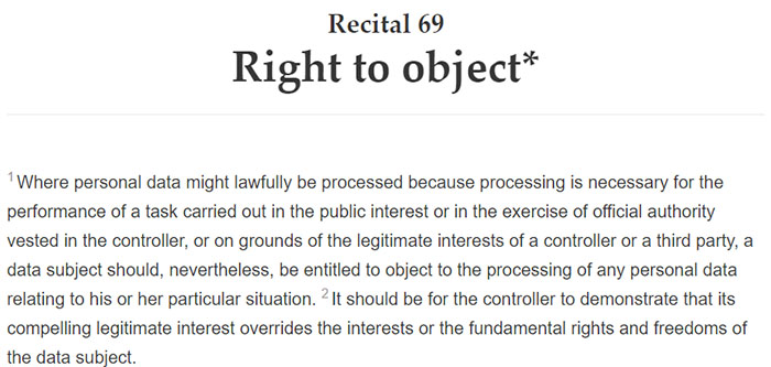 GDPR Recital 69: Right to object