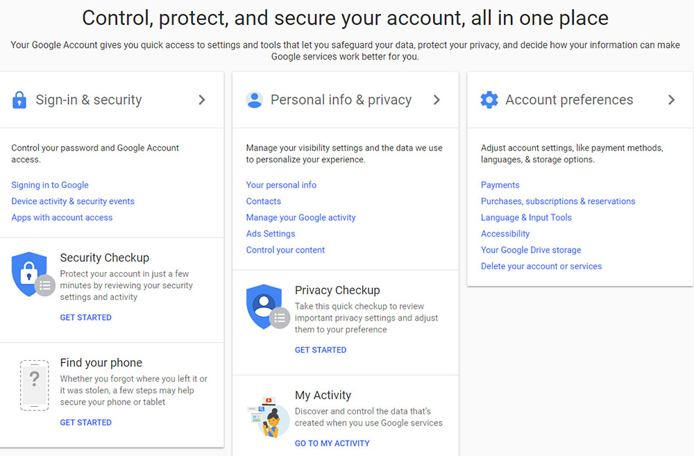 Google Account: Control, protect and secure your account interface