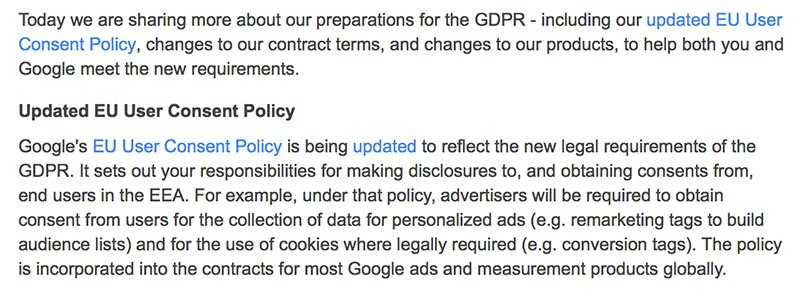 Google AdWords email notice about updated EU User Consent Policy - GDPR
