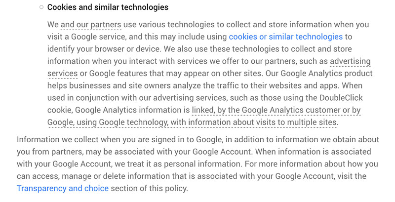 Google Privacy Policy: Information we collect: Cookies and similar technologies clause