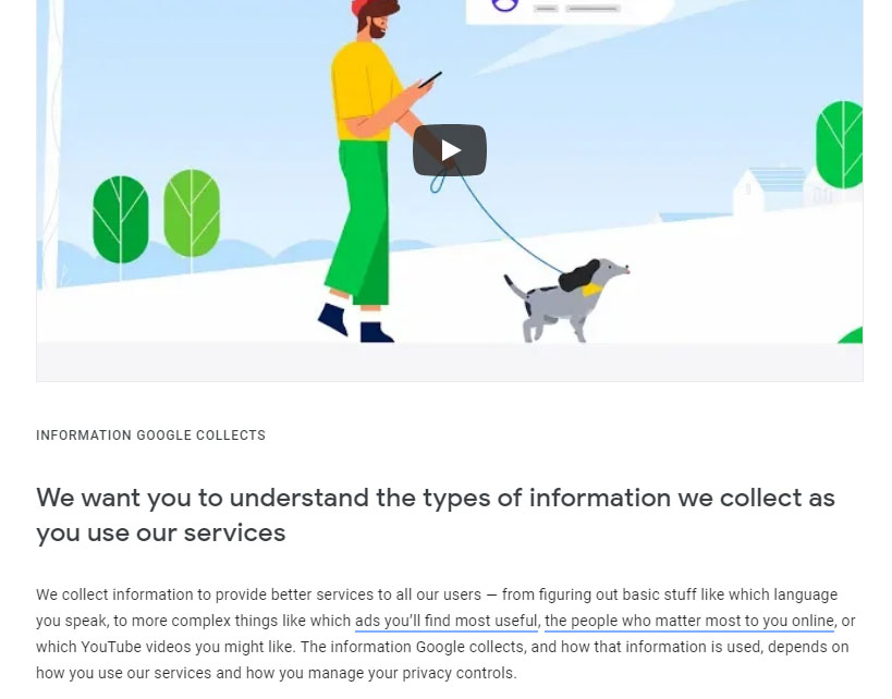 Google Privacy Policy: Information Google Collects clause with video intro