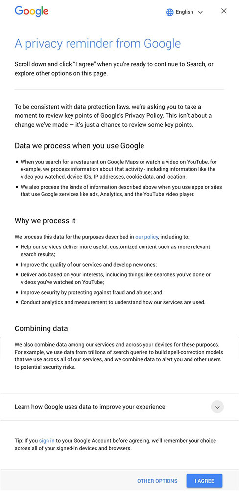Google privacy reminder notice about data processing with I Agree button