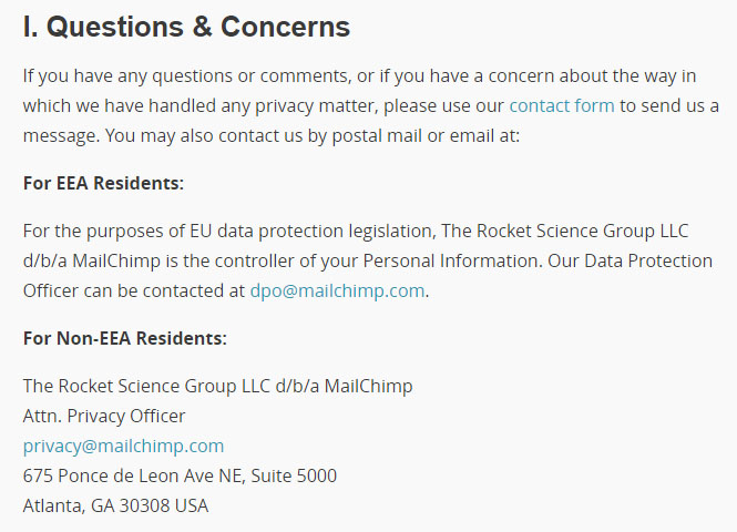 MailChimp Privacy Policy: Questions and Concerns clause with contact information