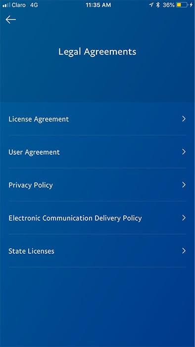 PayPal mobile app: Legal Agreements menu